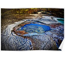 Water pools in sink holes on the shore of the Dead Sea Poster
