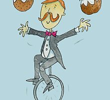 Christmas Pudding Juggling Unicyclist  by AndyLanhamArt