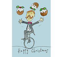 Christmas Pudding Juggling Unicyclist  Photographic Print