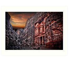 Jordan, Petra, The facade of the Treasury (El Khazneh) Art Print