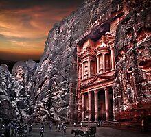 Jordan, Petra, The facade of the Treasury (El Khazneh) by PhotoStock-Isra