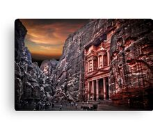 Jordan, Petra, The facade of the Treasury (El Khazneh) Canvas Print