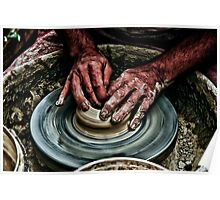 Hands of a potter  Poster