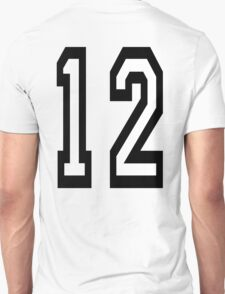 12, TEAM SPORTS, NUMBER 12, twelfth, twelve, ONE, TWO, Competition,  T-Shirt