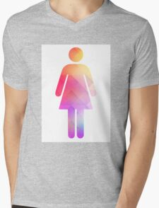 Multicolor retro woman symbol Mens V-Neck T-Shirt