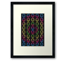 Rainbow Smiley Faces Abstract Two Framed Print
