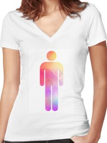 Multicolor retro man symbol Women's Fitted V-Neck T-Shirt