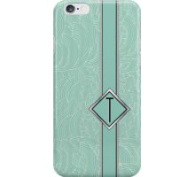 1920s Blue Deco Swing with Monogram letter T iPhone Case/Skin