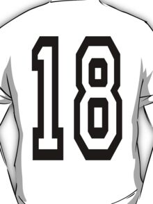 TEAM SPORTS, NUMBER 18, EIGHTEEN, EIGHTEENTH, ONE, EIGHT, Competition,  T-Shirt