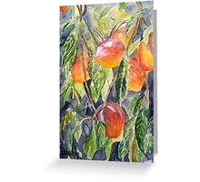 Peaches peach still life painting Greeting Card