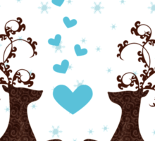Love Deers in Snow Flakes for T shirts Sticker
