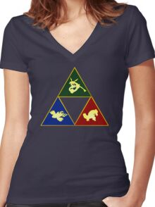 Hoenn's Legendary Triforce Women's Fitted V-Neck T-Shirt