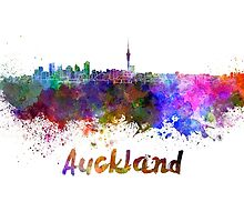 Auckland skyline in watercolor by paulrommer