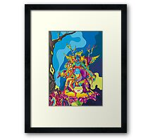 Psychedelic Christmas and New Year poster 2015 Framed Print