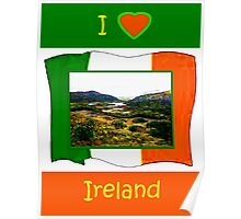 jGibney I Love Ireland 1999 Kerry Lake District Kerry Ireland Flag T-Shirt wb The MUSEUM Red Bubble Gifts Poster