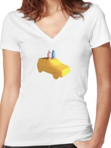 Married Peg People in a Car Women's Fitted V-Neck T-Shirt