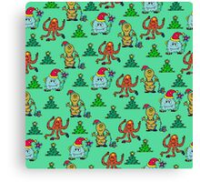 happy new year monsters pattern Canvas Print