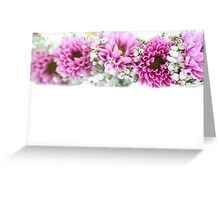 purple and mauve Flower frame on white  Greeting Card