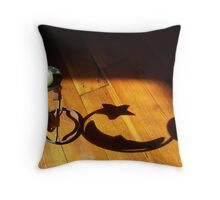 Moon Candle Holder Shadow Throw Pillow