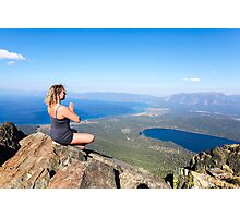 Woman meditates on a rock on mount Tallac  Photographic Print
