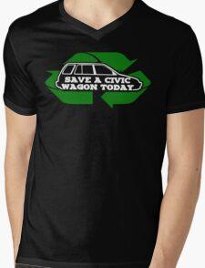Save A Civic Wagon (white letters) Mens V-Neck T-Shirt