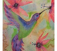 Hummingbird and Passion Flowers by jimenezart