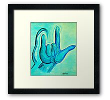ASL I Love You Blue Framed Print