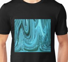 Chrome Style Shine Blue Green Teal Abstract Ripple Ribbon Design Pattern Unisex T-Shirt