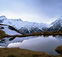 Reflections in a Glacial Lake, Mt Cook, New Zealand by David Jamrozik