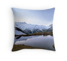 Reflections in a Glacial Lake, Mt Cook, New Zealand Throw Pillow
