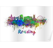 Reading skyline in watercolor Poster