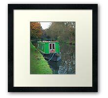 Green vintage canal boat Framed Print
