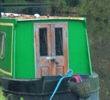 Green vintage canal boat Sticker