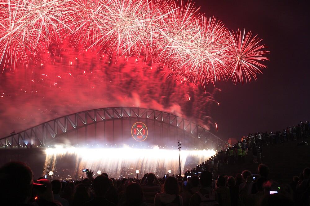Sydney Harbour Bridge Fireworks, New Years Eve by David Jamrozik