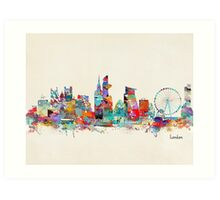 london city skyline watercolor Art Print