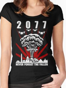 2077 Never Forget The Fallen V1 Women's Fitted Scoop T-Shirt