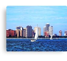Chicago IL - Two Sailboats Against Chicago Skyline Canvas Print