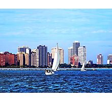 Chicago IL - Two Sailboats Against Chicago Skyline Photographic Print