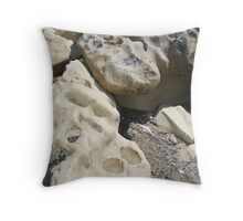 Nature's Artwork   - - - eroded rocks at Fossil Bluff, Wynyard Throw Pillow