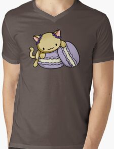 Macaron Kitty Mens V-Neck T-Shirt