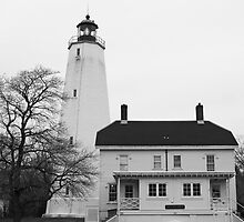 Sandy Hook Lighthouse B&W by andykazie