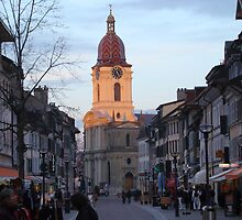 Catching the last light, Grande Rue and Catherdral, Morges by Hermann Hanekom
