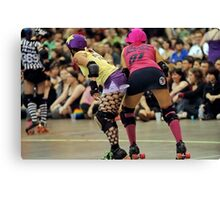 Roller Derby Girls Ready To Race Canvas Print