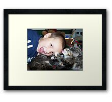 cat bath Framed Print