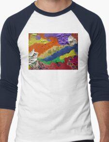 Alberta Canada abstract collage Men's Baseball ¾ T-Shirt