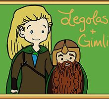 Legolas and Gimli by gingerkatie