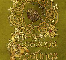 Robin Wreath Celtic Christmas Card by Catie Atkinson
