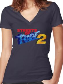 Streets of Rage 2 (Genesis) Title Screen Women's Fitted V-Neck T-Shirt