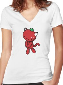 Strawberry Kitty Women's Fitted V-Neck T-Shirt