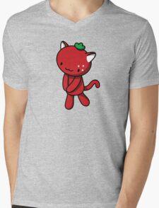 Strawberry Kitty Mens V-Neck T-Shirt
